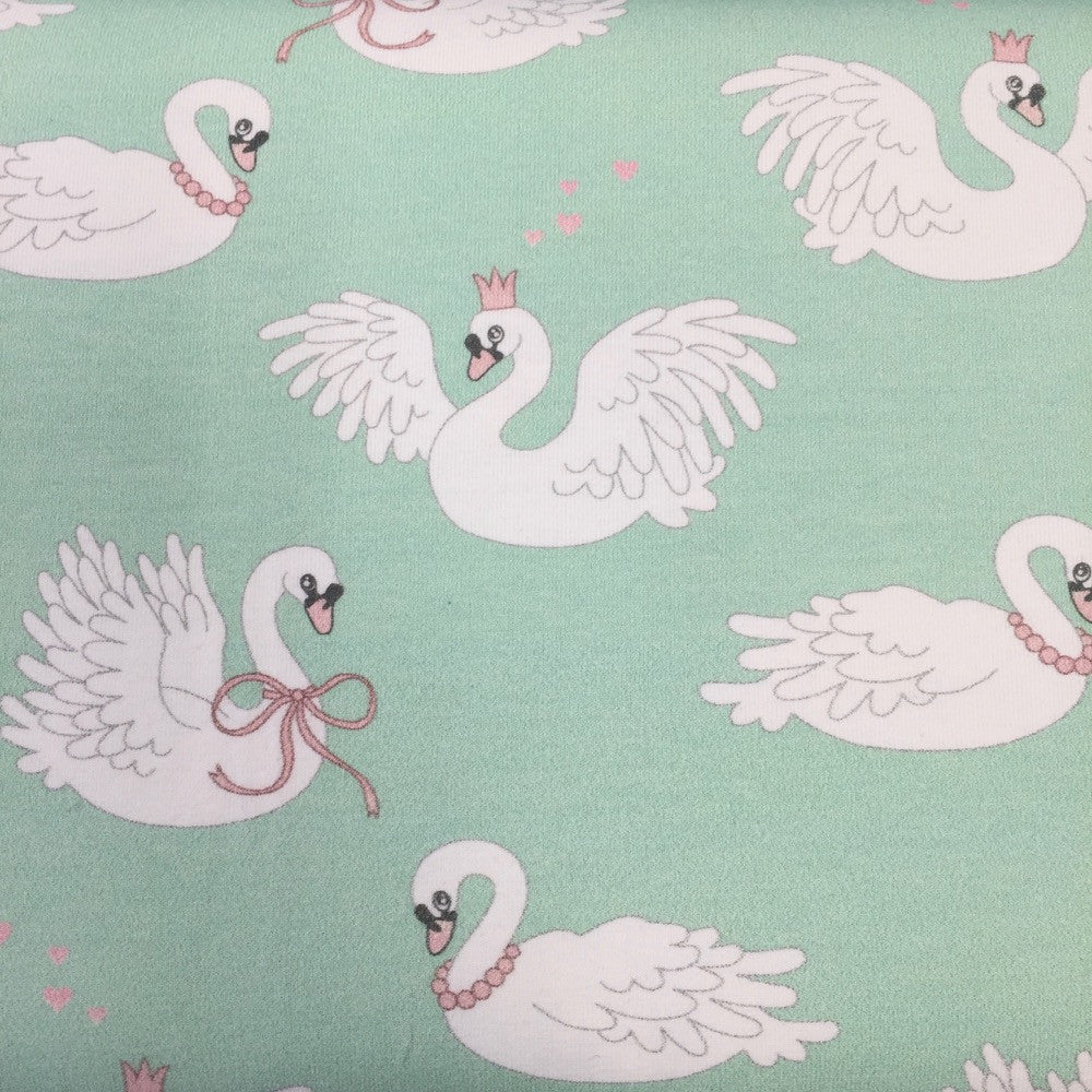 Swan Dance mint organic cotton jersey (by the half metre)