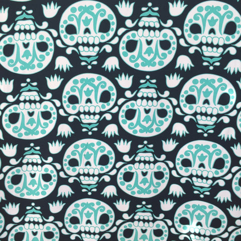Teal Sugar Skulls organic cotton sweatshirting (by the half metre)