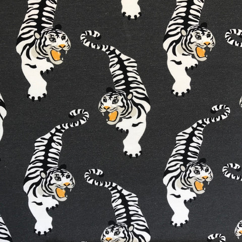 Tiger grey organic cotton jersey (by the half metre)