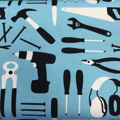 Tools Blue organic cotton jersey (by the half metre)