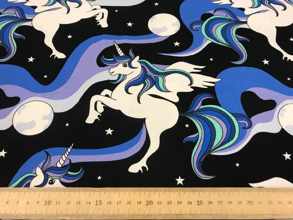 Unicorn Night organic cotton jersey (by the half metre)