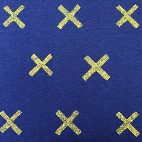X blue organic cotton sweatshirting (by the half metre)