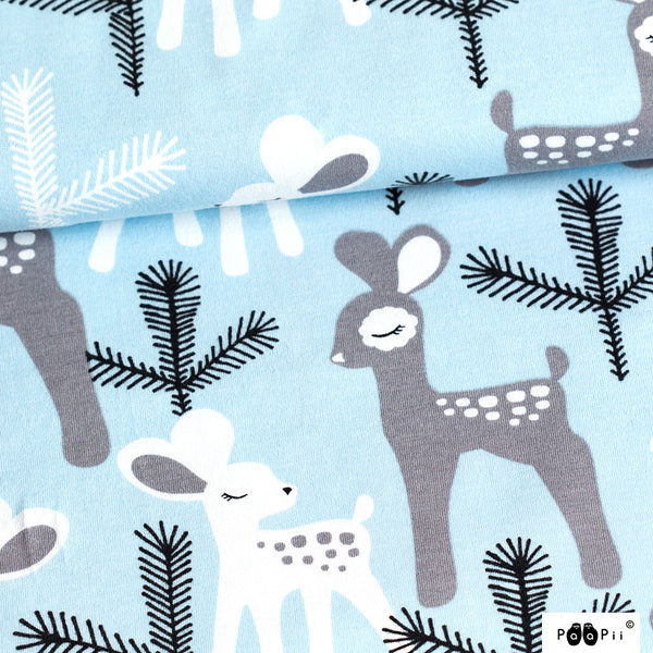 Bambi light blue organic cotton jersey (by the half metre)
