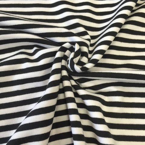 Black and white stripe organic cotton jersey (by the half metre)