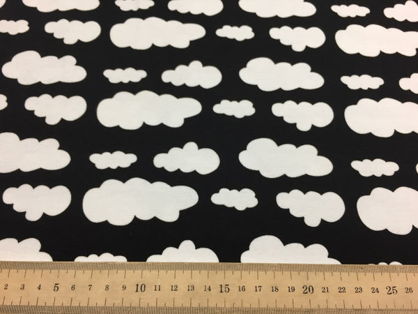 Black clouds cotton jersey (by the half metre)