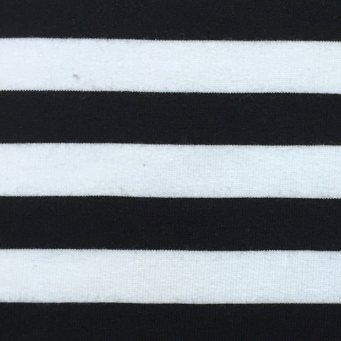 Sweat Stripe Black and White organic cotton sweatshirting (by the half metre)
