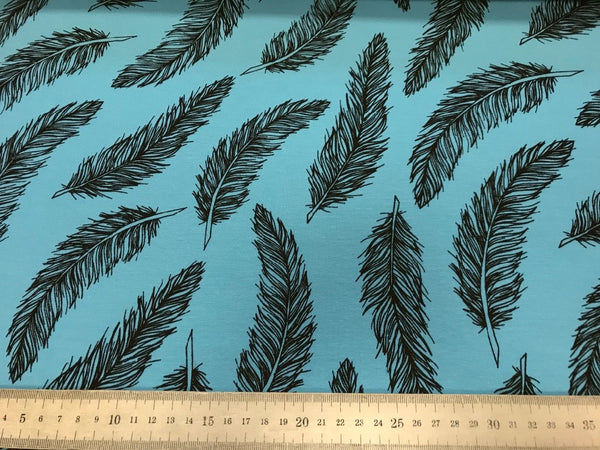 Turquoise feathers cotton jersey (by the half metre)