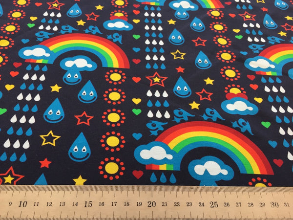 Blue Rainbowphant organic cotton sweatshirting (by the half metre)