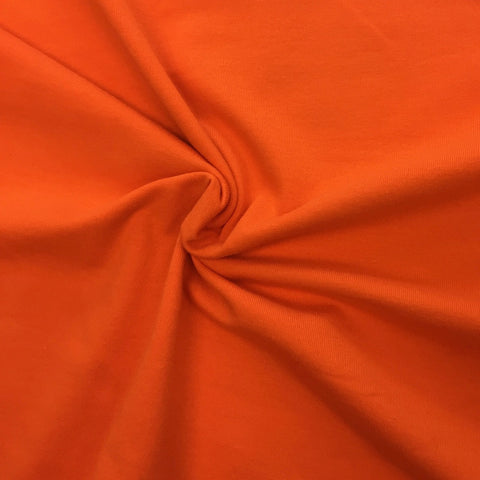 Bright orange plain organic cotton jersey (by the half metre)