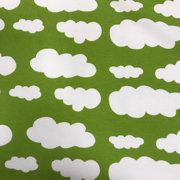 Kiwi green clouds cotton jersey (by the half metre)