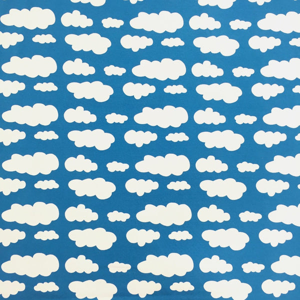 Deep turquoise clouds cotton jersey (by the half metre)