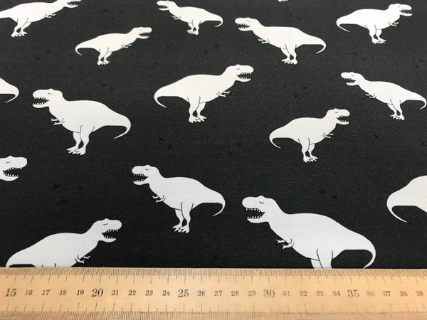 Dino grey cotton jersey (by the half metre)