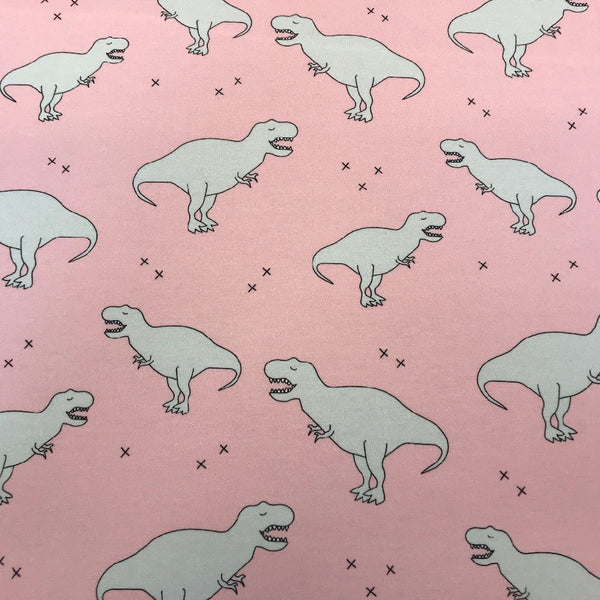 Dino pink cotton jersey (by the half metre)