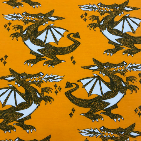 Dragons mango organic cotton sweatshirting (by the half metre)