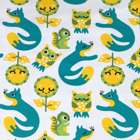 Foxes and Owls petrol organic cotton jersey (by the half metre)