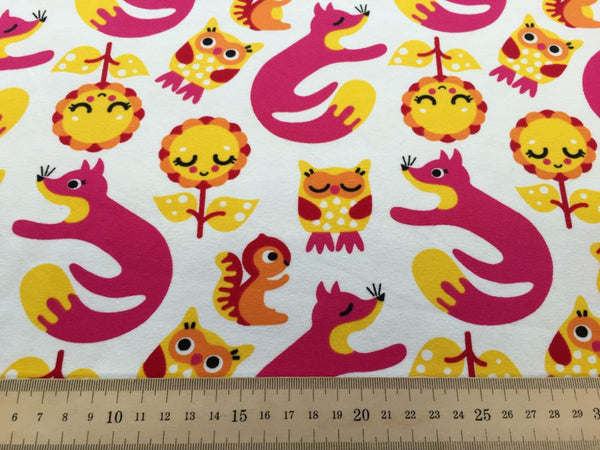 Foxes and Owls pink organic cotton jersey (by the half metre)