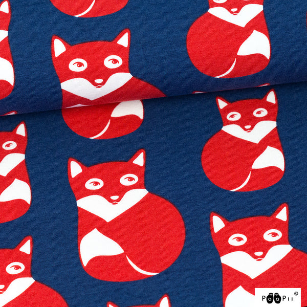 Foxes blueberry red organic cotton jersey (by the half metre)