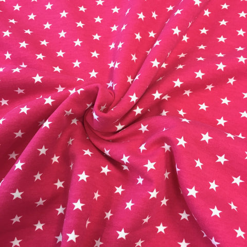 Fuchsia Stars organic cotton sweatshirting (by the half metre)
