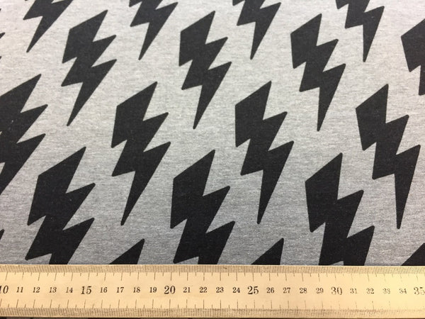 Lightning bolts grey cotton sweatshirting (by the half metre)