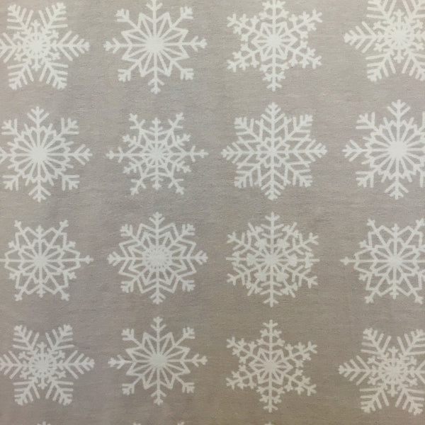 SALE Grey snowflakes organic cotton jersey (by the half metre)