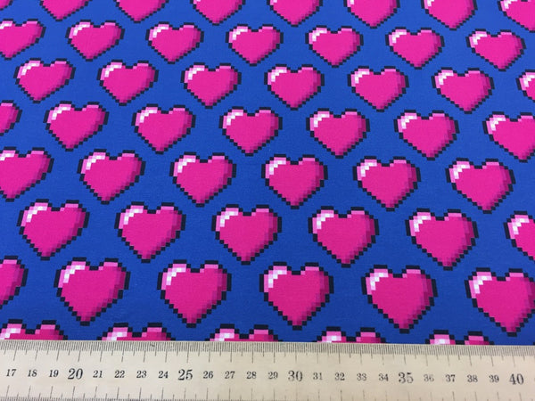 Hearts blue cotton jersey (by the half metre)