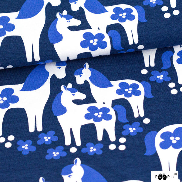 Horses blueberry organic cotton jersey (by the half metre)