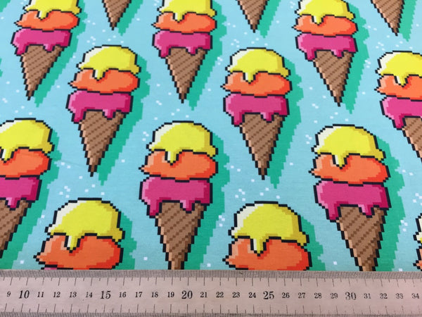 Ice Cream mint cotton jersey (by the half metre)