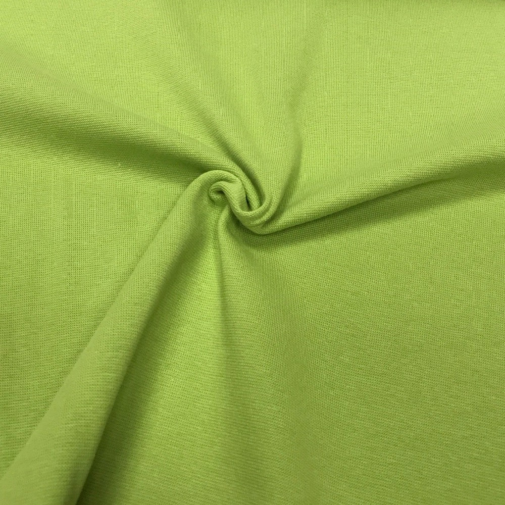 Kiwi green cotton ribbing (by the third metre)