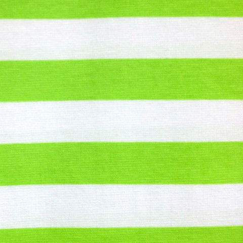 Lime and white stripe cotton jersey (by the half metre)