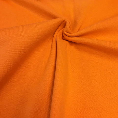 Tangerine plain cotton sweatshirting (by the half metre)