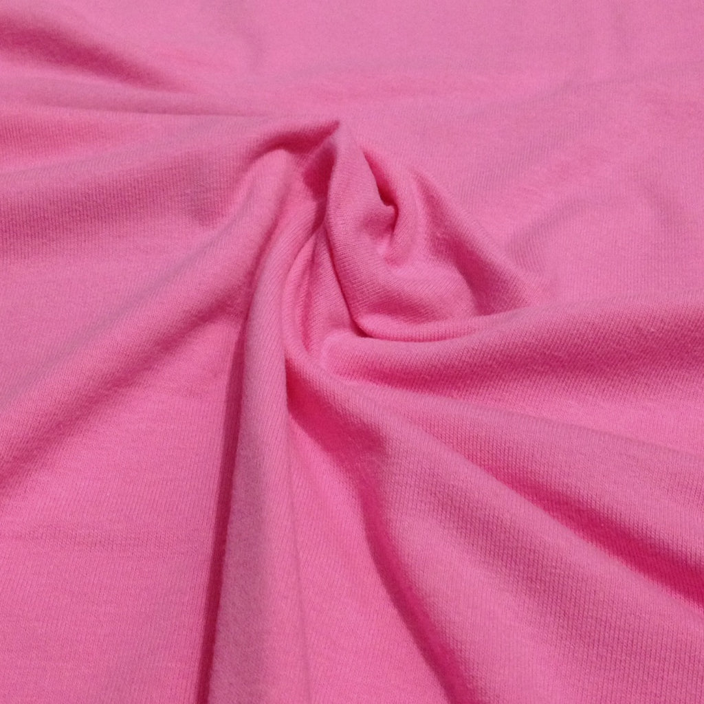 Pink plain cotton sweatshirting (by the half metre)