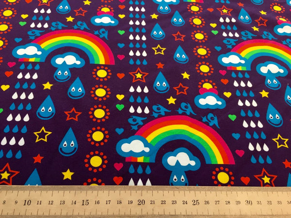 Purple Rainbowphant organic cotton sweatshirting (by the half metre)