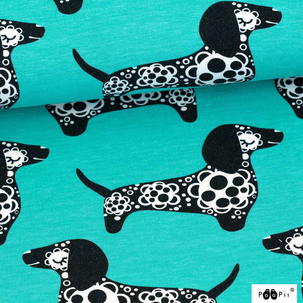 Raksu sausage dog turquoise organic cotton sweatshirting (by the half metre)