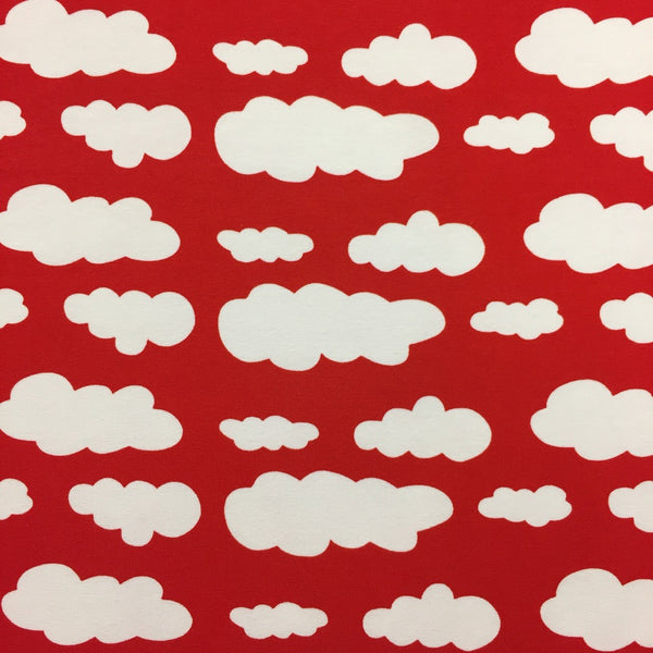 Red clouds cotton jersey (by the half metre)
