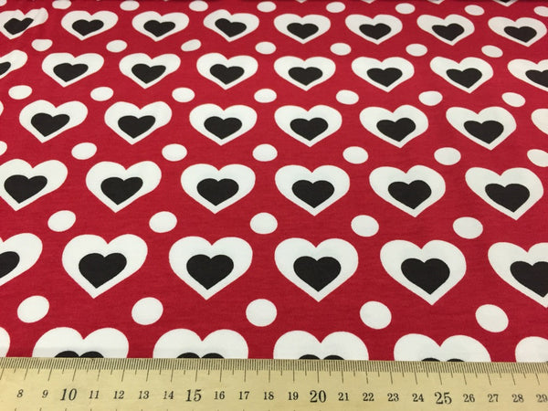 Red hearts organic cotton jersey (by the half metre)