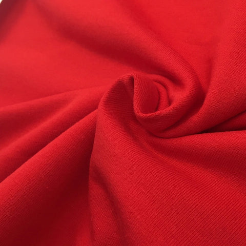Red plain cotton sweatshirting (by the half metre)