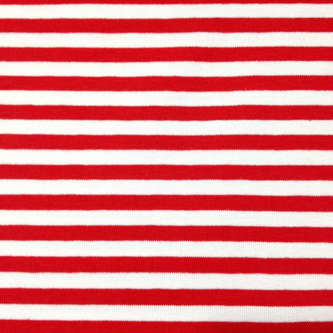 Red and white stripe organic cotton jersey (by the half metre)