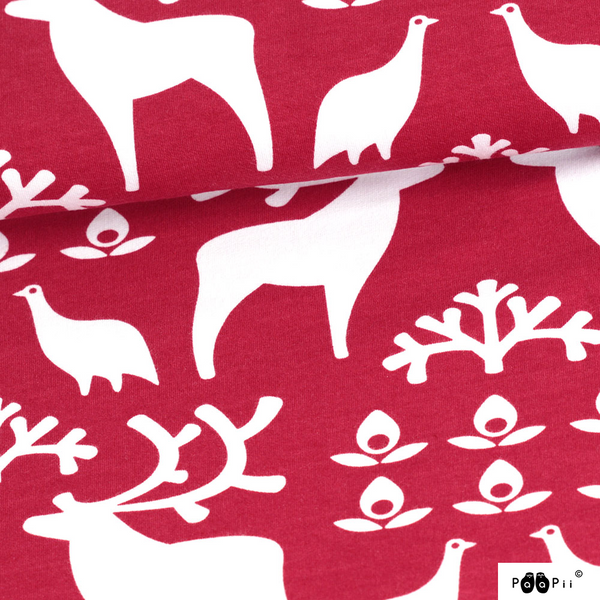 Reindeer red organic cotton sweatshirting (by the half metre)