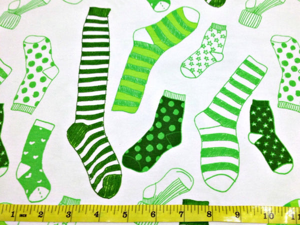 SALE Green Sock n' Roll cotton jersey (by the half metre)