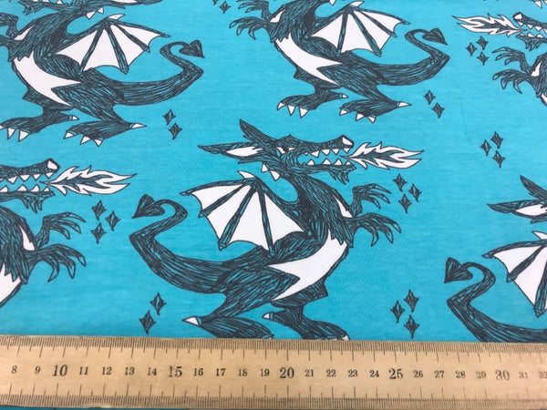 Dragons turquoise organic cotton jersey (by the half metre)