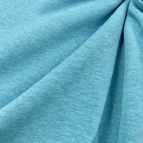Melange turquoise plain cotton sweatshirting (by the half metre)