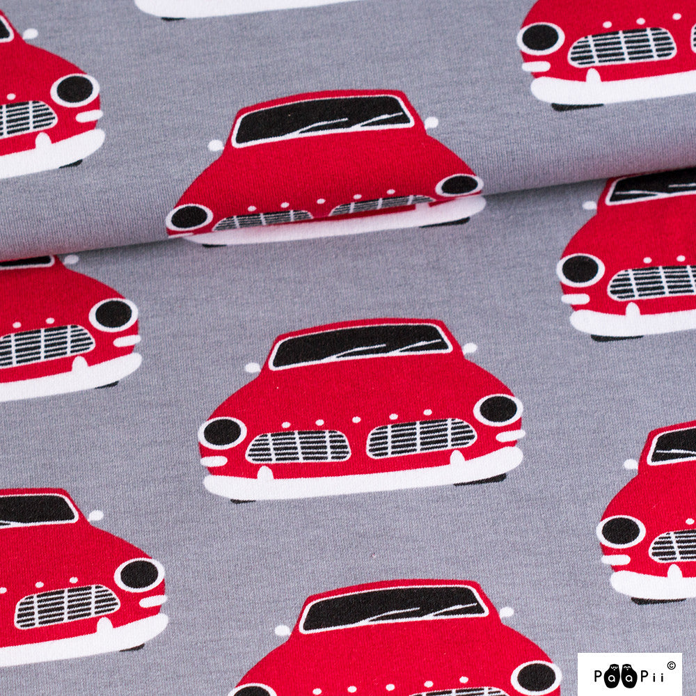 Vintage Cars red grey organic cotton sweatshirting (by the half metre)