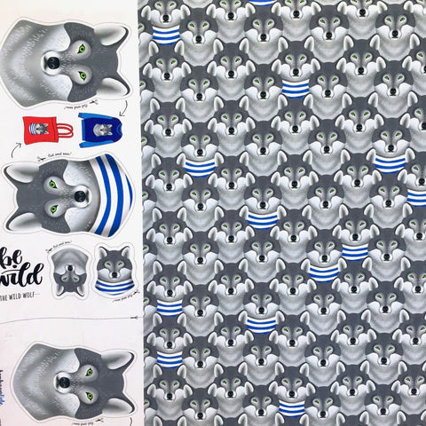 Wild Wolf cotton jersey including panel (by the half metre)