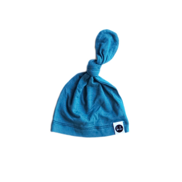 Powell Blue Top Knot Beanie