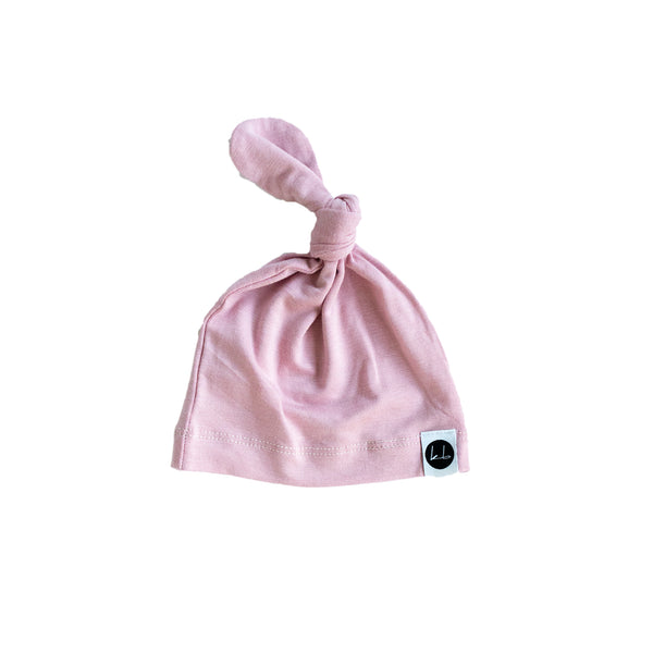 Sunset Pink Top knot Beanie
