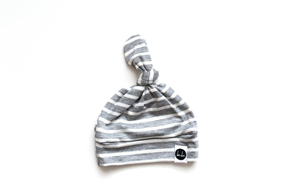 Top Knot Beanie - Gray And White Stripe Baby Top Knot Beanie