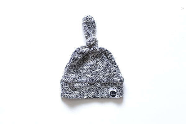 Top Knot Beanie - Gray Textured Top Knot Baby Beanie