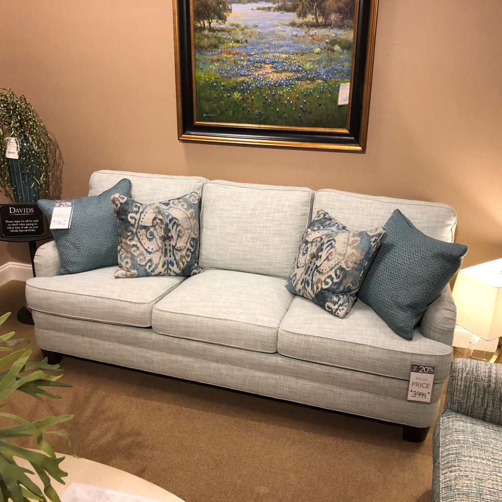 Sherrill Fabric Sofa Sherrill English Arm Seafoam Sofa