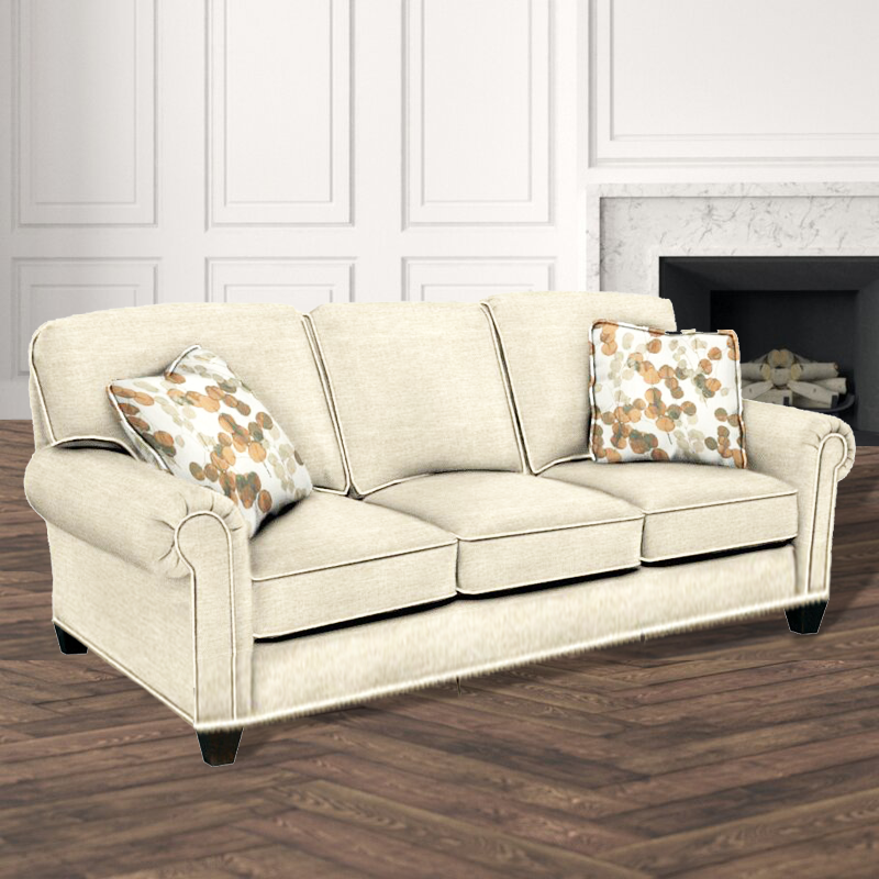 Sherrill Traditional Lawson Sofa with Semi-Attached Back