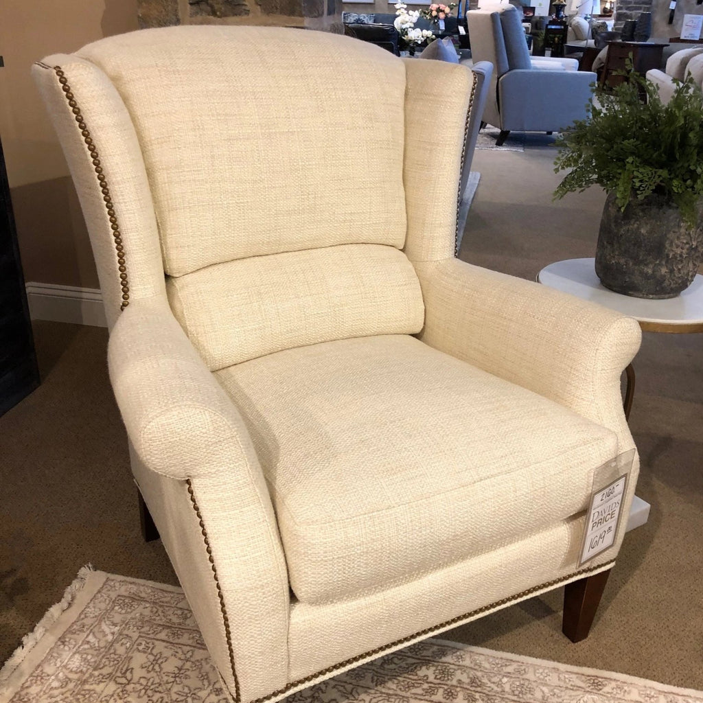 Sherrill Fabric Chair and Ottoman Sherrill Tight Natural Wing Chair